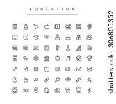education stroke icons set.... | Shutterstock .eps vector #306805352
