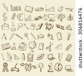 set of doodle icons. business... | Shutterstock .eps vector #306816476