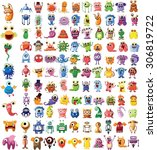 set of vector cute monsters and ... | Shutterstock .eps vector #306819722