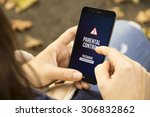 mobile security concept  woman... | Shutterstock . vector #306832862