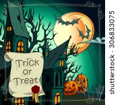 halloween background with... | Shutterstock .eps vector #306833075