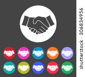 handshake icon. set of... | Shutterstock .eps vector #306834956