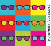 pop art and sunglasses | Shutterstock .eps vector #306852062
