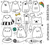 Set Of 11 Sticker Doodle Cats...