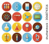 flat science and education... | Shutterstock . vector #306874316