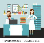 doctor and nurse office... | Shutterstock .eps vector #306883118