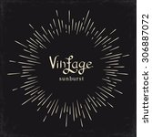 vintage monochrome sun ... | Shutterstock .eps vector #306887072