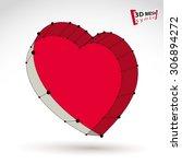 3d mesh stylish web red love... | Shutterstock .eps vector #306894272