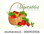 wicker basket with vegetables ... | Shutterstock .eps vector #306903506