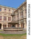 Small photo of VIENNA, AUSTRIA - AUGUST 12, 2015: Fountain of Vienna State Opera (Wiener Staatsoper, circa 1869) in Vienna, Austria. Architects August Sicard von Sicardsburg and Eduard van der Null