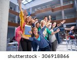 happy students group  study in... | Shutterstock . vector #306918866