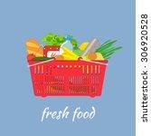 supermarket basket with food.... | Shutterstock .eps vector #306920528