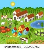 big set of rural farmer... | Shutterstock .eps vector #306930752