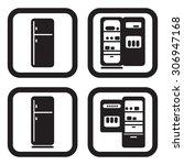 fridge icon in four variations | Shutterstock .eps vector #306947168