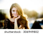 portrait of pretty young woman... | Shutterstock . vector #306949802