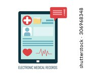 electronic medical records on... | Shutterstock .eps vector #306968348