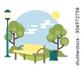 bench in the park | Shutterstock .eps vector #306972758