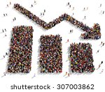 large group of people seen from ... | Shutterstock . vector #307003862