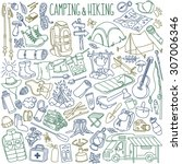 camping and hiking hand drawn... | Shutterstock .eps vector #307006346