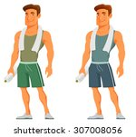 young cartoon guy after work... | Shutterstock .eps vector #307008056