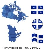 Canada Quebec Map And Flag...