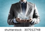 close up of businessman hands... | Shutterstock . vector #307012748