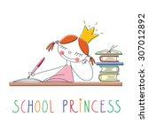 school princess. doodle... | Shutterstock .eps vector #307012892