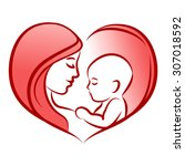 mother with her baby ... | Shutterstock .eps vector #307018592