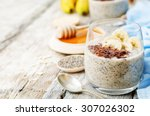 overnight banana oats quinoa... | Shutterstock . vector #307026302