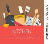 flat design kitchen concept.... | Shutterstock .eps vector #307026872