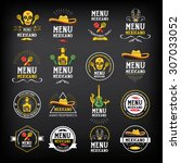 menu mexican logo and badge... | Shutterstock .eps vector #307033052