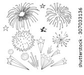 drawing of fireworks | Shutterstock .eps vector #307033136