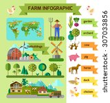 infographic eco farm. flat... | Shutterstock .eps vector #307033856