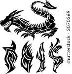 dragon icon vector set | Shutterstock .eps vector #3070369