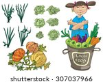 vendor of locally grown produce ... | Shutterstock .eps vector #307037966