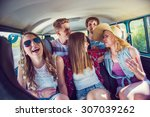 young hipster friends on a road ... | Shutterstock . vector #307039262