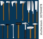 heavy equipment includes saws ... | Shutterstock .eps vector #307044878
