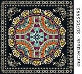 bandana print with mandala... | Shutterstock .eps vector #307053992