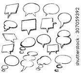 set of hand drawn speech... | Shutterstock .eps vector #307059392