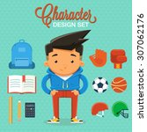 boy character design with... | Shutterstock .eps vector #307062176