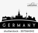 germany skyline silhouette...   Shutterstock .eps vector #307064342