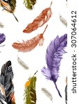 feathers pattern watercolor 1 | Shutterstock . vector #307064612