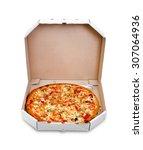 pizza in box isolated | Shutterstock . vector #307064936
