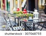 tables of a parisian outdoor...   Shutterstock . vector #307068755