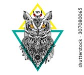 detailed owl in aztec style | Shutterstock .eps vector #307080065