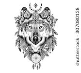 Detailed Wolf In Aztec Style