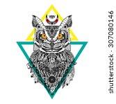 detailed owl in aztec style | Shutterstock . vector #307080146