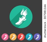 running shoes wings icon flat... | Shutterstock .eps vector #307081166