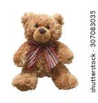 teddy bear isolated on white... | Shutterstock . vector #307083035