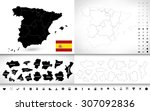 black color blind map of spain... | Shutterstock .eps vector #307092836